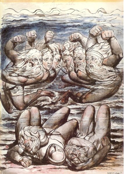 William Blake painting of Dante's Fifth Circle